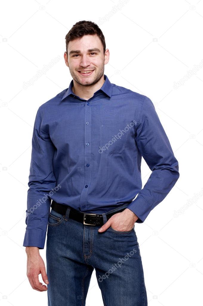 zapatos para baratas Boutique en ligne encontrar el precio más bajo Homem de camisa azul, isolada no branco — Fotografias de ...