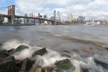 Manhattan and Brooklyn Bridge from Hudson River