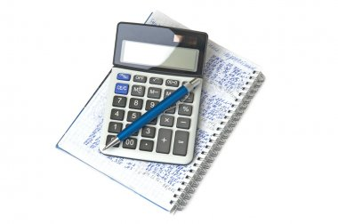 Calculator, notebook and pen on white background