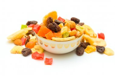 Dried fruits on isolated
