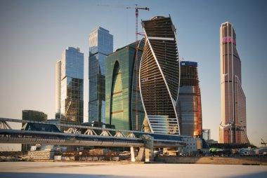 Moscow city business center in winter