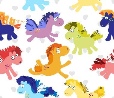 Cute cartoon horses vector seamless pattern