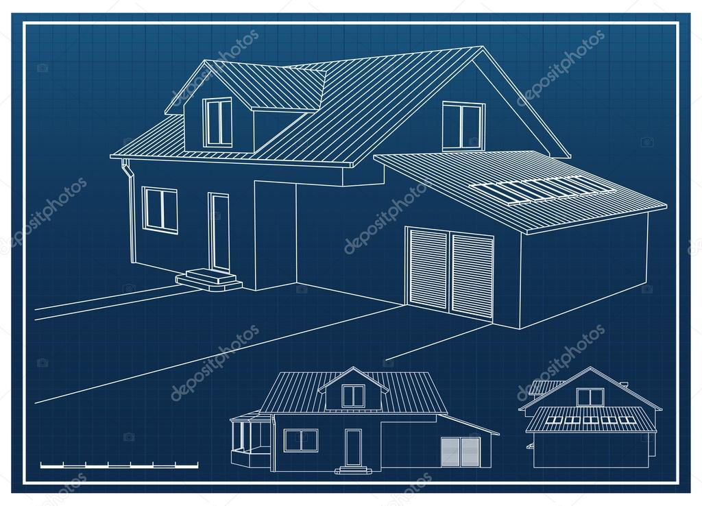 Blueprint house vector de stock andrejco 23936223 blueprint house vector de stock malvernweather Gallery