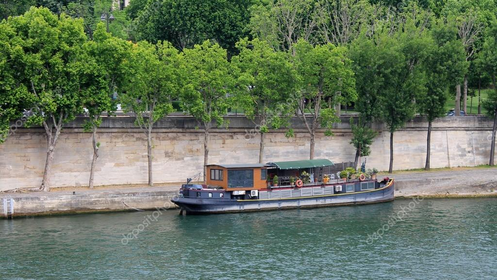 Houseboat On The River Seine In Paris France Stock Photo