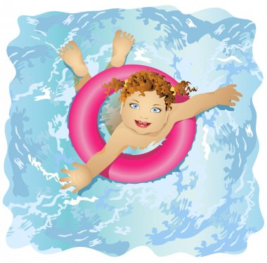 Happy and smiling child floats in water