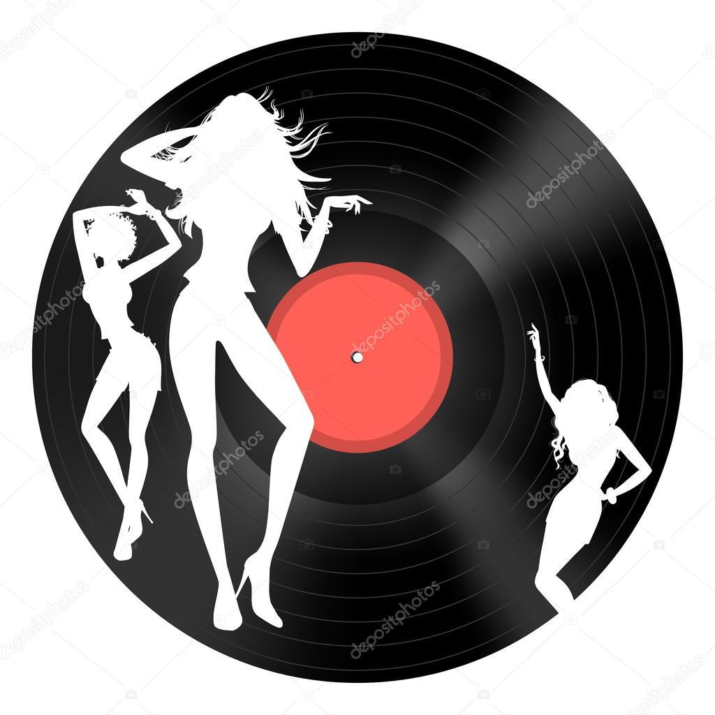 disco de vinilo con figuras de baile — Archivo Imágenes Vectoriales ...