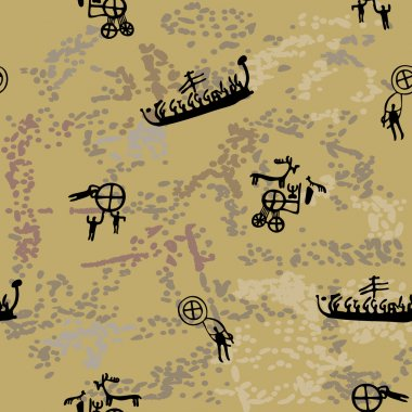 Scandinavian rock paintings: brown and spotty seamless background clip art vector