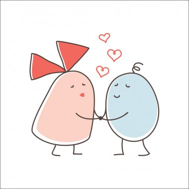 Loving couple was going to kiss each other stock vector
