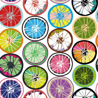 Seamless abstract background with bicycle wheels