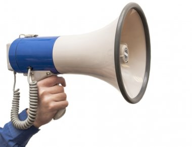 Isolated megaphone in hand