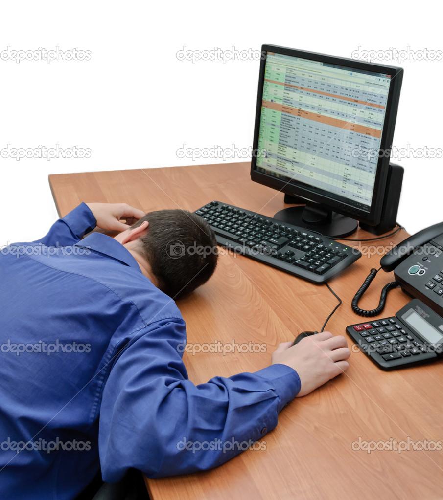 Man Asleep At The Computer Stock Photo