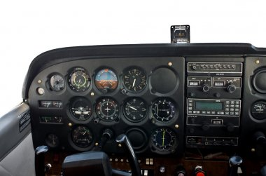 Cockpit of light, private airplane