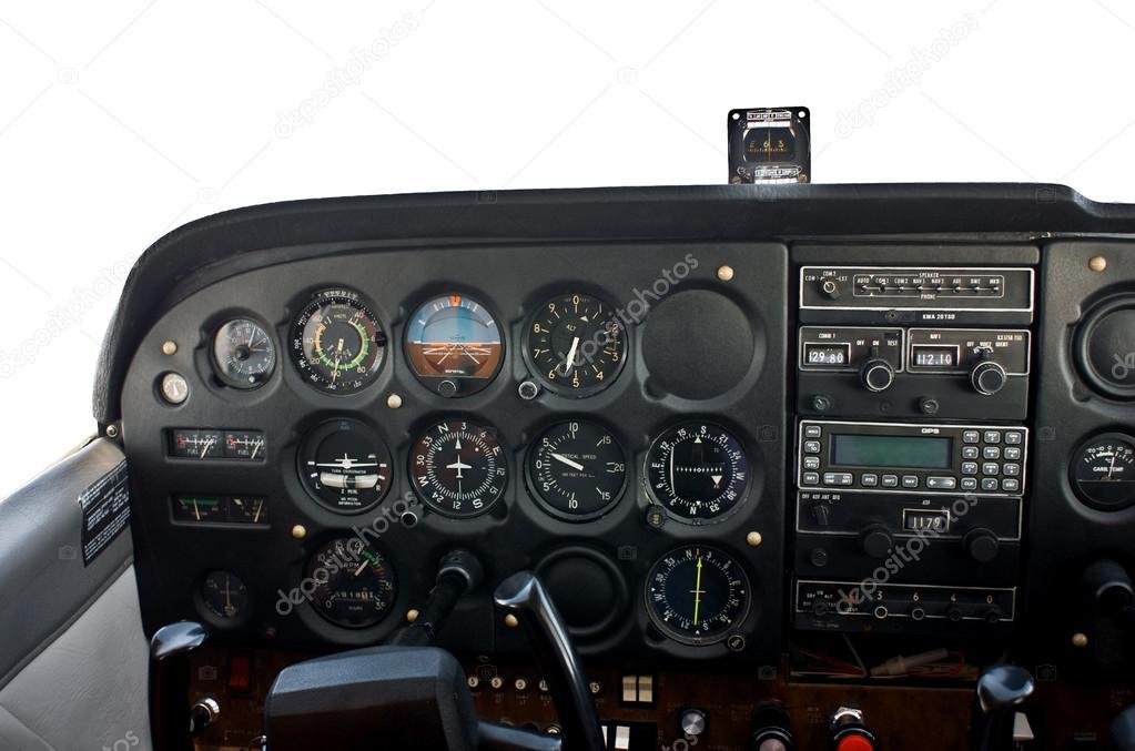 Cabina di pilotaggio di un aereo privato luce foto for Piani di cabina 20x20