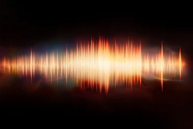 Colorful waveform isolated on black stock vector