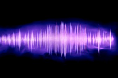 Colorful waveform isolated on black, purple stock vector