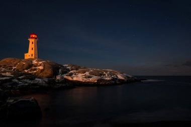 Peggys Cove's Lighthouse at Night