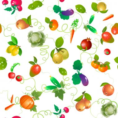 Vegetables and fruits vector pattern, trimmed at the edges