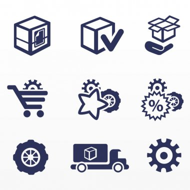 Packaging and buy icons, car parts
