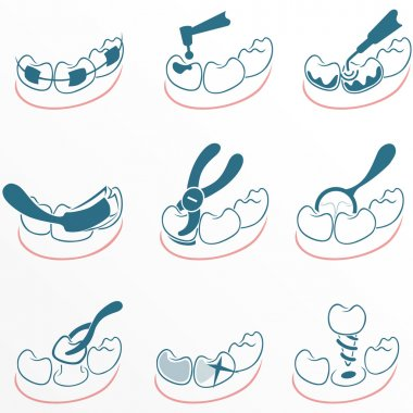 Dental icons set for clinic
