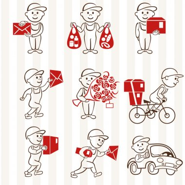 Courier with boxes and vehicles two coloring line icons set