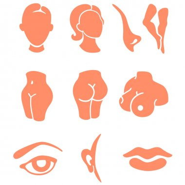 Body parts and face zones icon set