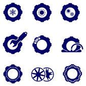 Autoteile wie Reifen und Räder Symbole festlegen
