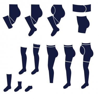 Different types of women's socks, tights and stockings