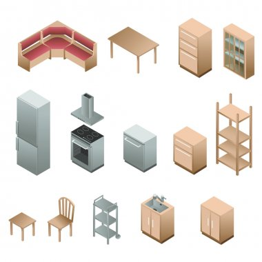 Isometric wooden furniture for kitchen