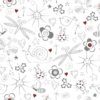 Seamless pattern with simple summer items