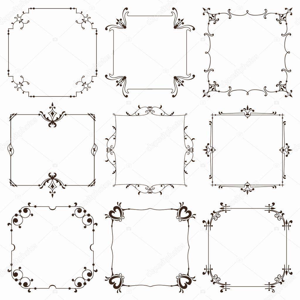 colección de Marcos cuadrados ornamentales — Vector de stock ...