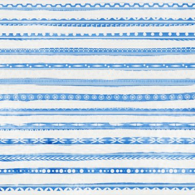 Striped light blue watercolor background with ethnic ornaments