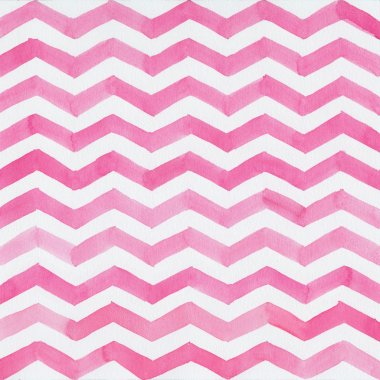 Watercolor background with pink zigzag stripes