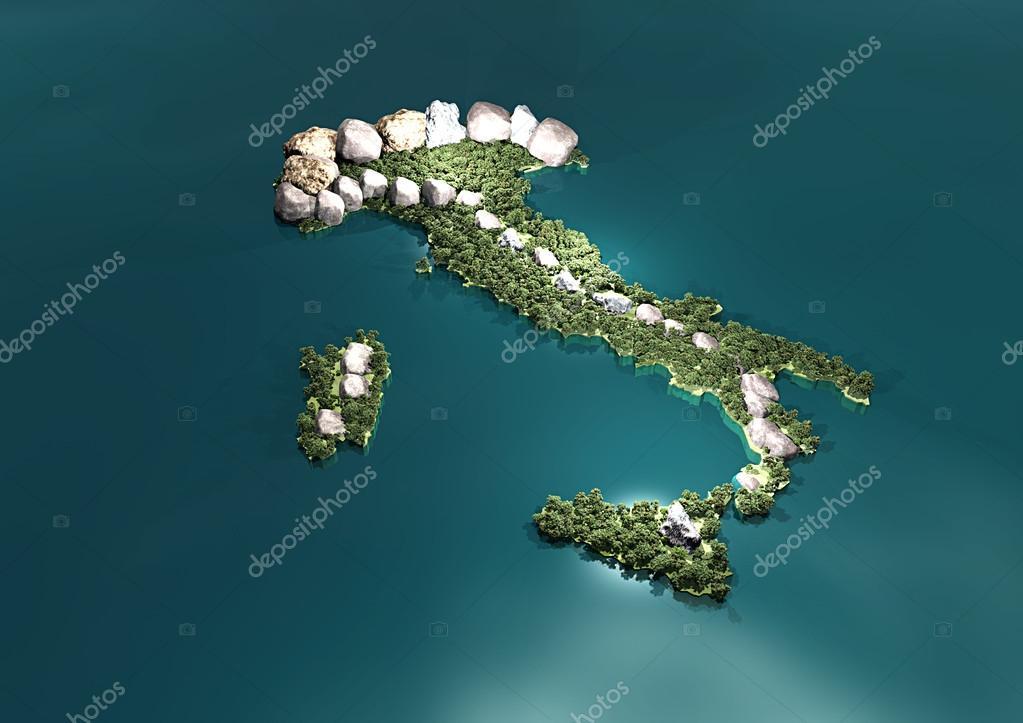 Mappa Fisica 3d Italia Foto Stock Vampy1 24909061
