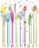 Colorful cutlery, breakfast card