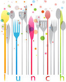 Colorful cutlery, lunch card