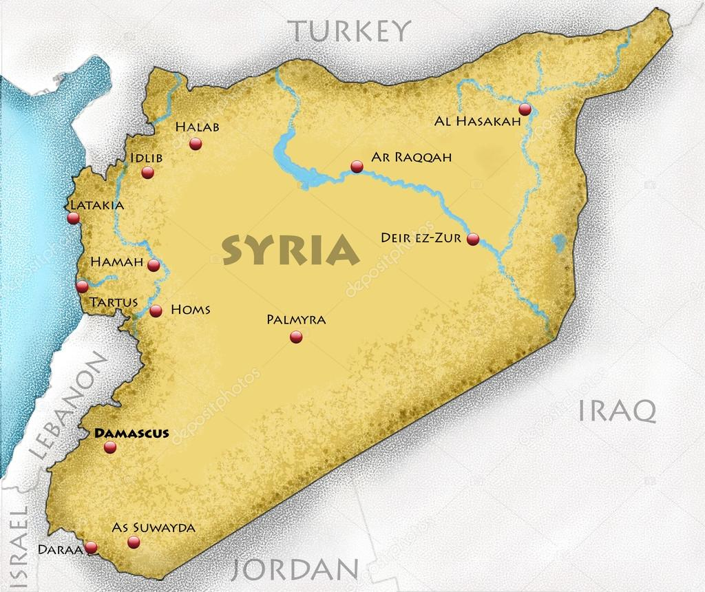Map Of Syria Stock Photo Vampy - Jordan map download