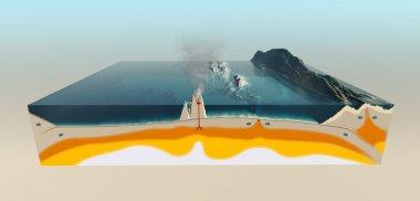 Tectonic plate interaction illustration stock vector