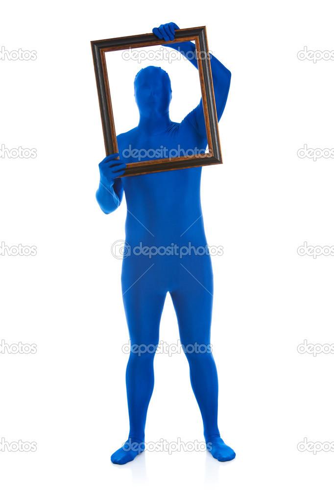 Blau: Hält einen Bilderrahmen — Stockfoto © sjlocke #24839267