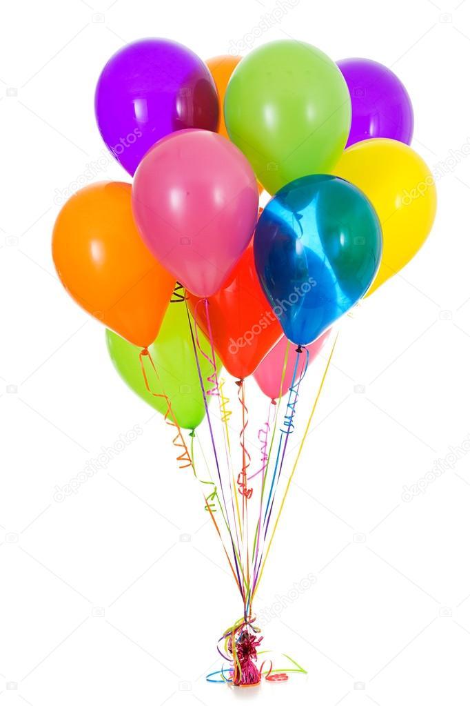 balloons dozen bright colored balloon bouquet stock photo