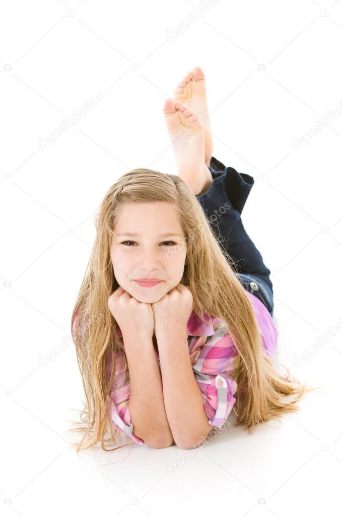 Flexible teen girl posing on the floor 3