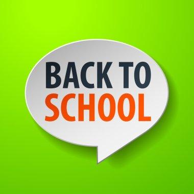 Back To School 3d Speech Bubble on Green background