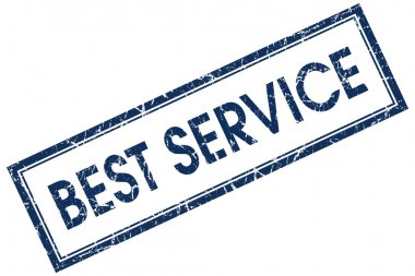 best service blue square stamp