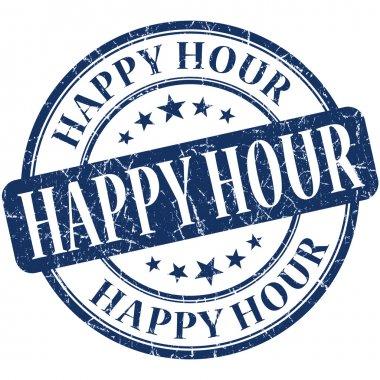 Happy hour grunge blue round stamp