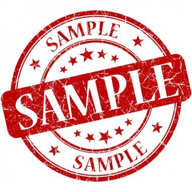 Sample grunge red round stamp stock vector
