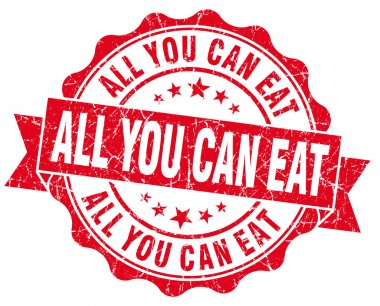 All you can eat red grunge vintage seal
