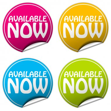 AVAILABLE NOW round stickers set on white background