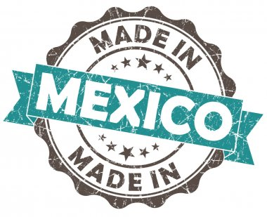made in MEXICO blue grunge seal