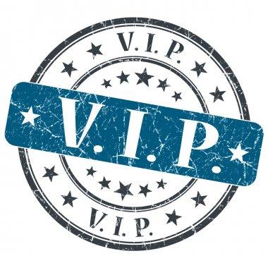 VIP blue grunge round stamp on white background