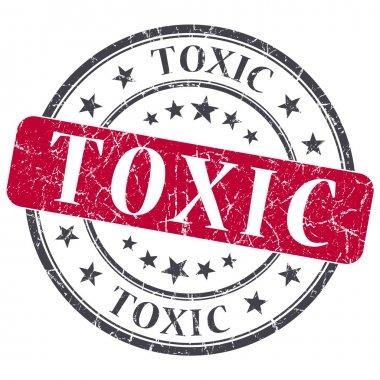 Toxic red grunge round stamp on white background