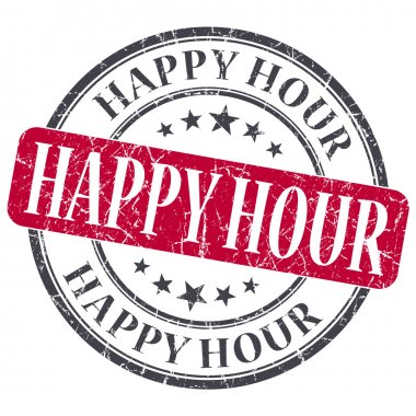 Happy Hour red grunge round stamp on white background